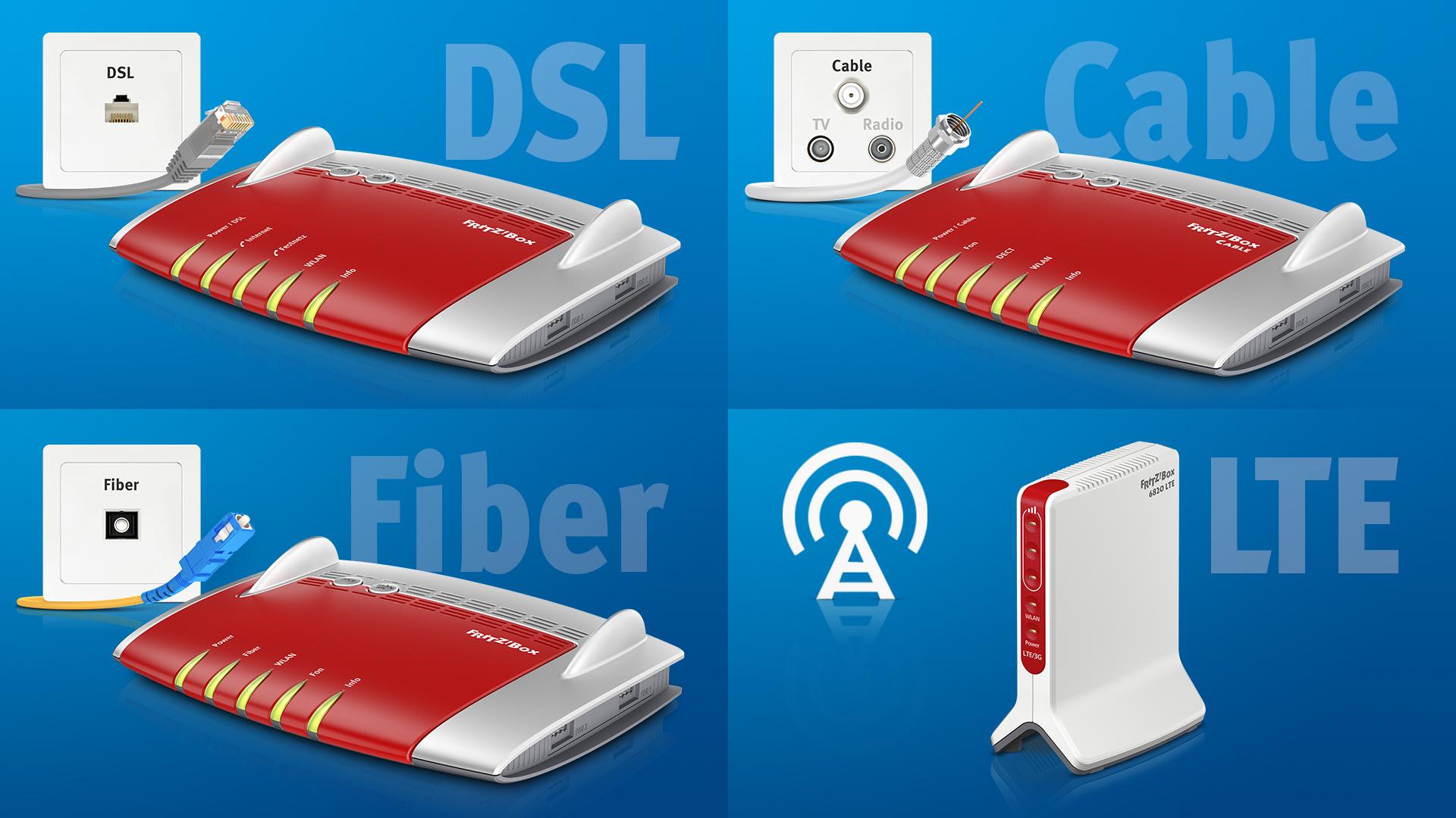 fritz box modelle f r jede breitbandtechnologie dsl kabel glasfaser und lte intelligentes. Black Bedroom Furniture Sets. Home Design Ideas